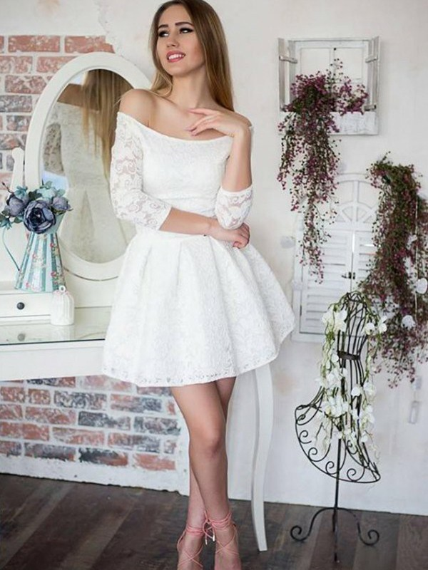 Short/Mini A-Line/Princess Off-the-Shoulder 3/4 Sleeves Lace Dresses