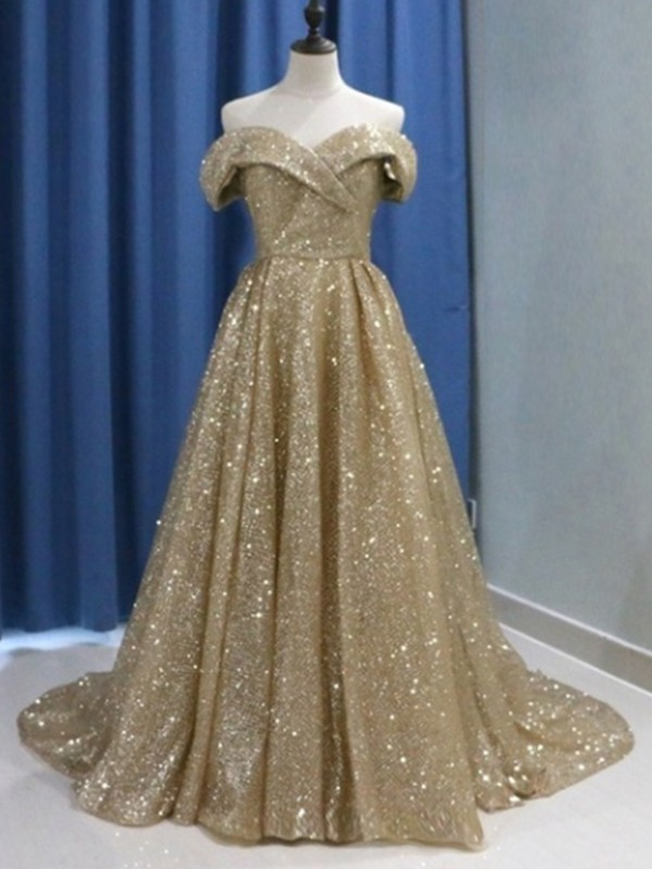 Sweep/Brush Train Ball Gown Off-the-Shoulder Sleeveless Sequins Dresses