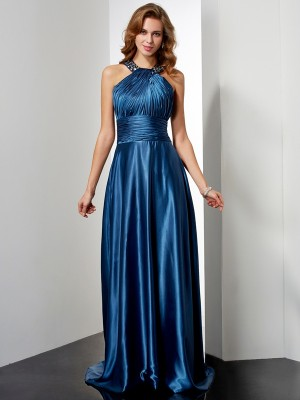 A-Linien Neckholder Bodenlang Stretch-Satin Abendkleid mit Applikationen