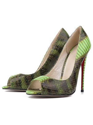 Frauen Snake Print PU Peep-Toe Stiletto-Absatz High Heels