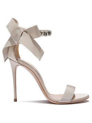 Frauen Satin Peep-Toe Stiletto-Absatz Sandalen