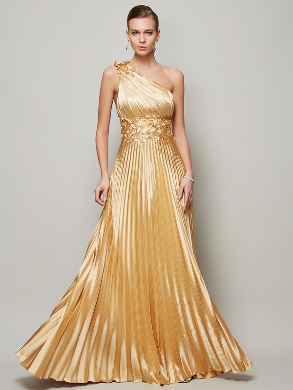 A-Linien One-Shoulder-Träger Bodenlang Stretch-Satin Abendkleid mit Perlenstickereien