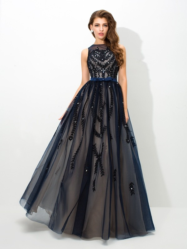 A-Linien-/Princess-Stil Sheer Neck Bodenlang Tüll Abendkleid mit Perlenstickereien Applikationen