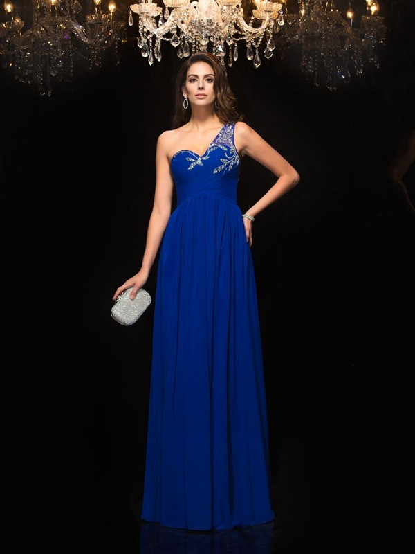 A-Linien-/Princess-Stil One-Shoulder-Träger Bodenlang Chiffon Kleid mit Applikationen Perlenstickereien