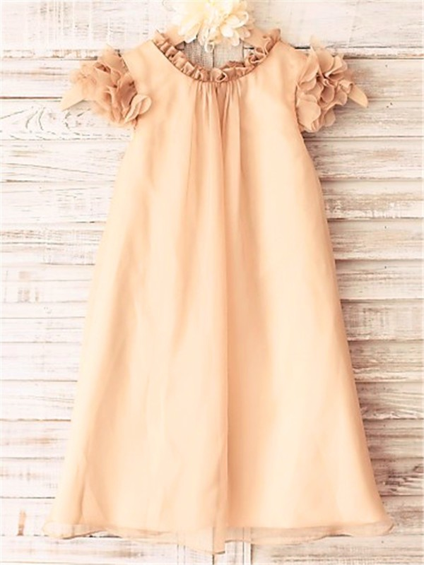 A-line/Princess Scoop Short Sleeves Tea-Length Chiffon Flower Girl Dresses
