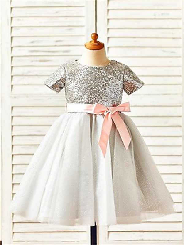 A-line/Princess Scoop Short Sleeves Sequin Tea-Length Tulle Flower Girl Dresses