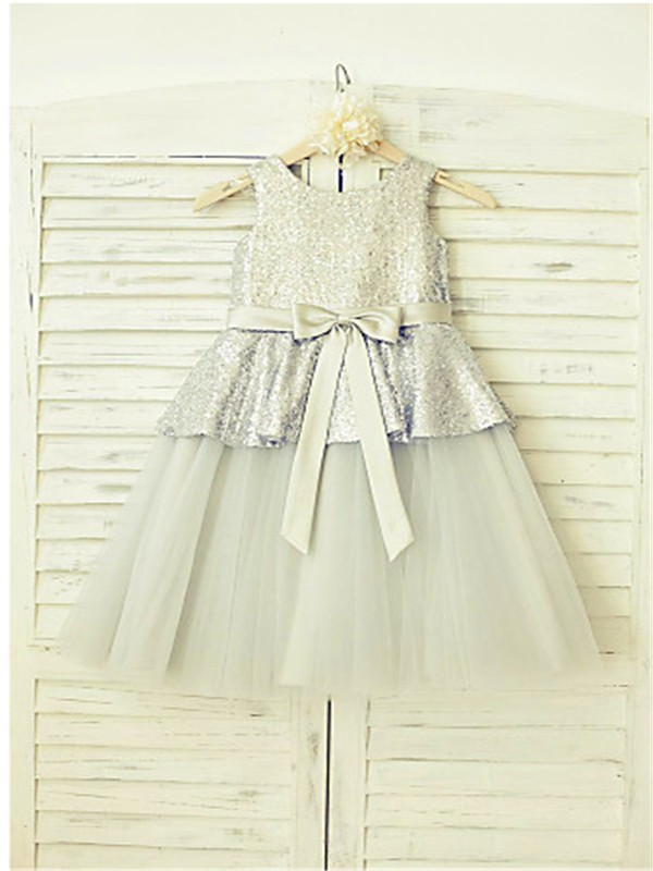 A-line/Princess Sleeveless Scoop Sequin Floor-Length Tulle Flower Girl Dresses