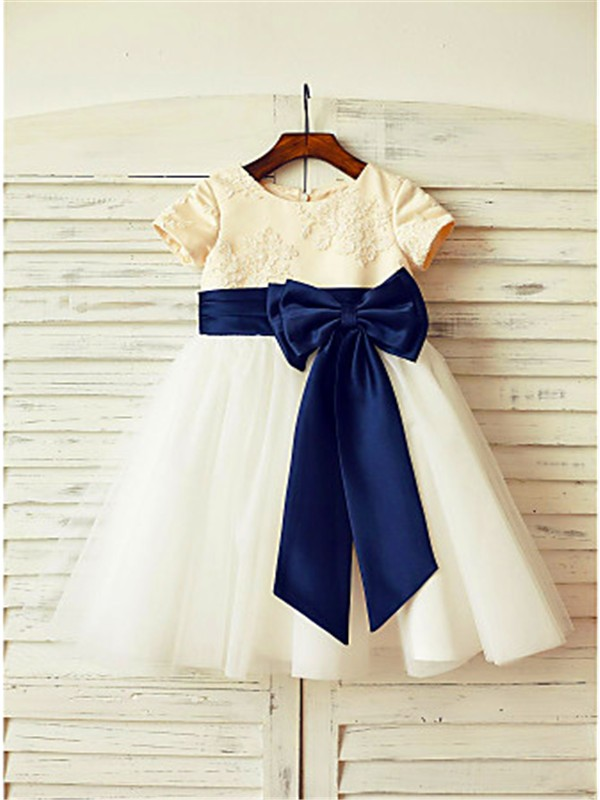 A-line/Princess Scoop Short Sleeves Bowknot Floor-Length Tulle Flower Girl Dresses