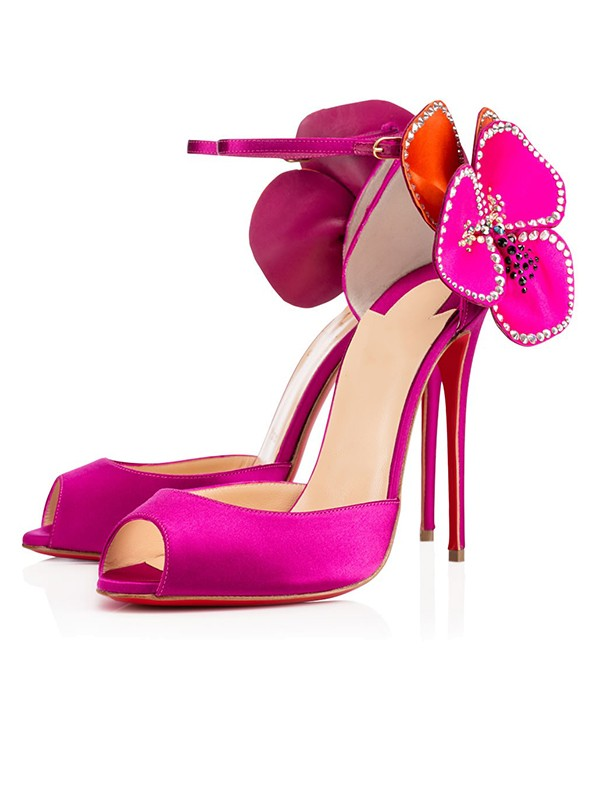 Frauen Satin Peep-Toe Mit Blume Stiletto-Absatz High Heels